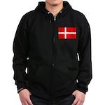 Danish / Denmark Flag Zip Hoodie (dark)