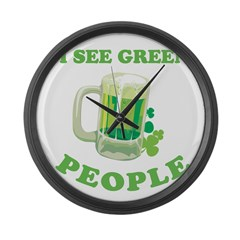 I see green people Large Wall Clock