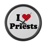 I love priests Large Wall Clock