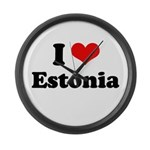 I love Estonia Large Wall Clock
