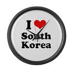 I Love South Korea Large Wall Clock