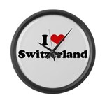 I love Switzerland Large Wall Clock