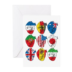 Heart Flags Greeting Cards (Pk of 10)