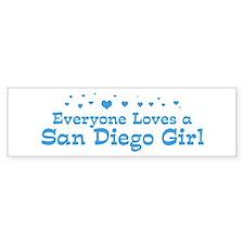 Loves San Diego Girl Bumper Sticker