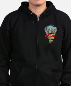 Cervical Cancer Dagger Tattoo Zip Hoodie (dark)