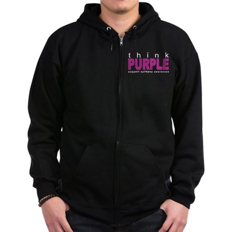 Think Purple: Epilepsy Zip Hoodie (dark)