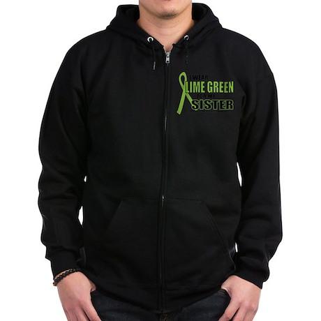 LD: Lime Green For Sister Zip Hoodie (dark)