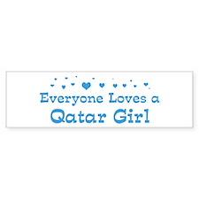 Loves Qatar Girl Bumper Bumper Sticker
