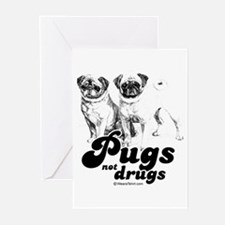 Pugs not drugs - Greeting Cards (Pk of 20)