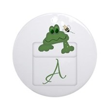 Pocket Pal Frog - Any Initial/Name Ornament (Round