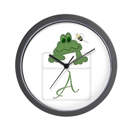 Pocket Pal Frog - Any Initial/Name Wall Clock