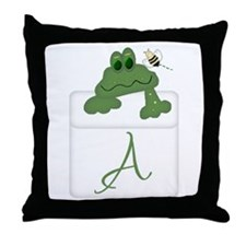 Pocket Pal Frog - Any Initial/Name Throw Pillow
