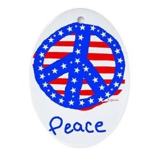 Patriotic Peace Sign Oval Ornament