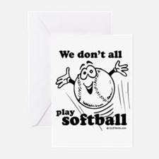 We don't all play softball Greeting Cards (Pk of 2