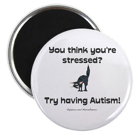 "Autism Stress (cat) 2.25"" Magnet (100 pack)"