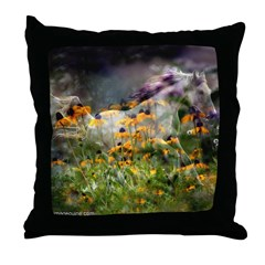 Horses and Flowers Throw Pillow
