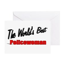 """The World's Best Policewoman"" Greeting Card"