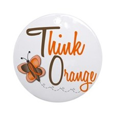 Think Orange 1 Butterfly 2 Ornament (Round)