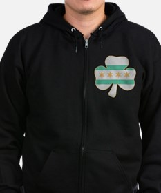 Irish Chicago flag shamrock Zip Hoodie
