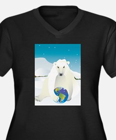 Polar Bear Holding Earth Women's Plus Size V-Neck
