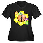 Peace Blossoms / orange Women's Plus Size V-Neck D