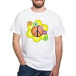 Peace Blossoms / orange White T-Shirt