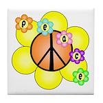Peace Blossoms / orange Tile Coaster