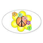 Peace Blossoms / orange Oval Sticker
