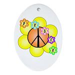 Peace Blossoms / orange Oval Ornament