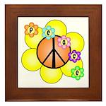 Peace Blossoms / orange Framed Tile