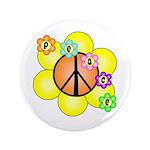 """Peace Blossoms / orange 3.5"""" Button"""