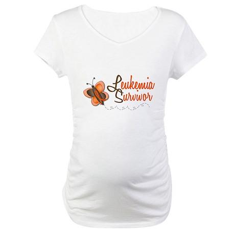 Leukemia Survivor 1 Butterfly 2 Maternity T-Shirt