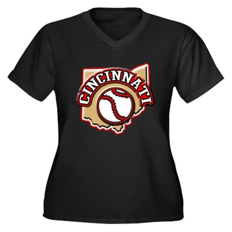 Cincinnati Baseball Women's Plus Size V-Neck Dark