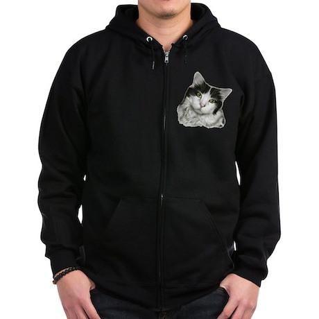 Pierre, Black & White Cat Zip Hoodie (dark)