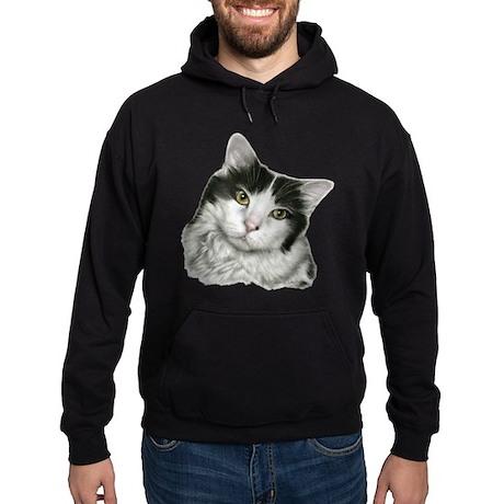 Pierre, Black & White Cat Hoodie (dark)