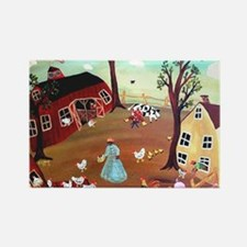 BARNYARD MORNING Rectangle Magnet
