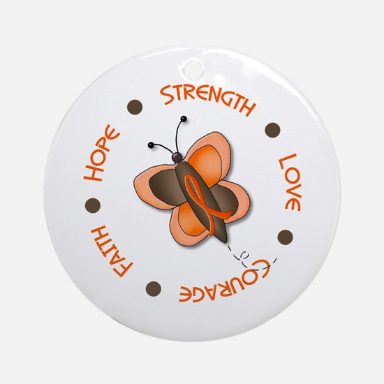 Hope Courage 1 Butterfly 2 ORANGE Ornament (Round)