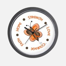 Hope Courage 1 Butterfly 2 ORANGE Wall Clock