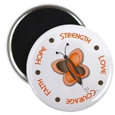 "Hope Courage 1 Butterfly 2 ORANGE 2.25"" Magnet (10"