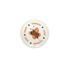 Hope Courage 1 Butterfly 2 ORANGE Mini Button (10