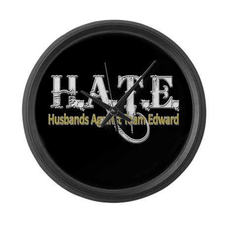 HATE - Husbands Against Team Large Wall Clock