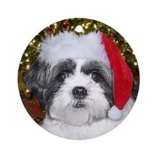 Christmas Shih Tzu Ornament (Round)