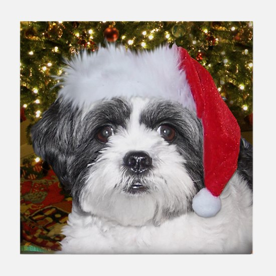 Christmas Shih Tzu Tile Coaster