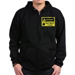 Caffeine Warning Office Worker Zip Hoodie (dark)