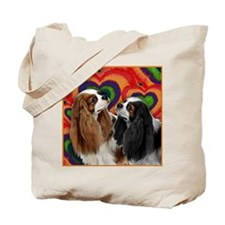 CAVALIER KING CHARLES SPANIEL DOGS HEARTS Tote Bag
