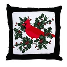 Holly Berries & Red Cardinal Throw Pillow