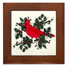 Holly Berries & Red Cardinal Framed Tile