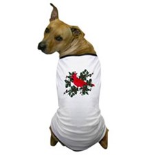 Holly Berries & Red Cardinal Dog T-Shirt