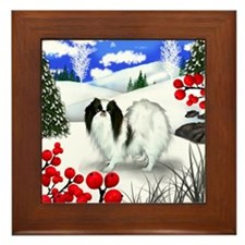 Japanese Chin Dog Winter Berries Framed Tile