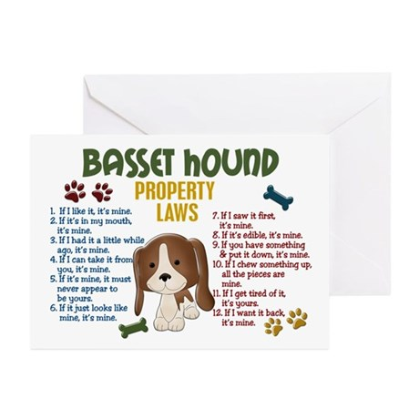 Basset Hound Property Laws 4 Greeting Cards (Pk of